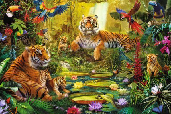 1500 - Familia de tigres en la jungla