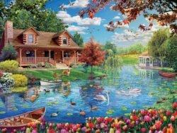 casita en el lago puzzle 5000 piezas educa