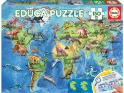 puzzle educa mapamundi dinosaurios 150 piezas